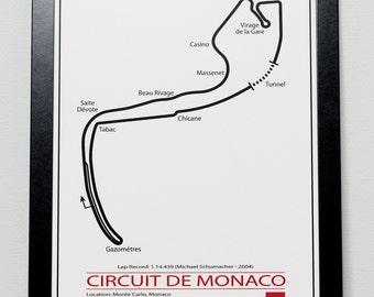 Monaco Grand Prix Track illustration Poster