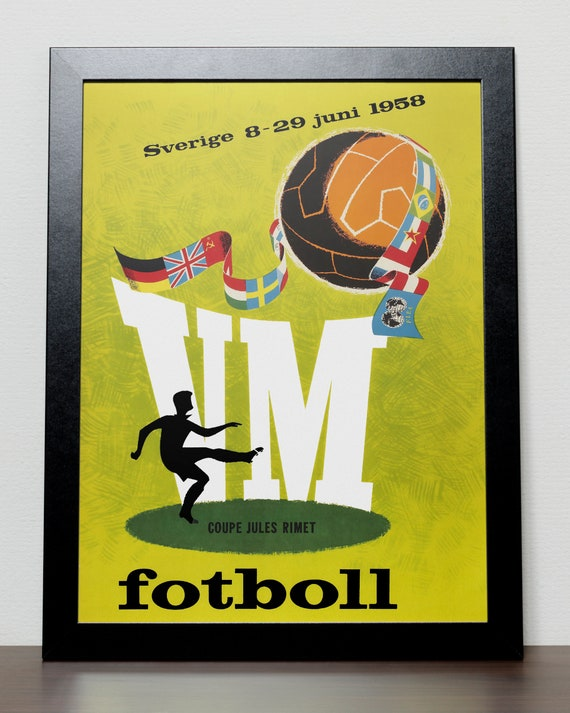 1958-world-cup-poster-sweden vintage football poster reproduction.