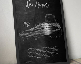 Nike Mercurial Boots Cleats Patent Design Poster