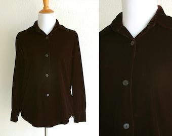 70s/80s Red Black Velvet Button Up Luxury Blouse Size Small/Medium