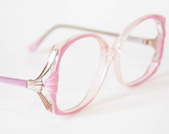 f50610add0d 80s Oversized Pearlescent Light Pink Eyeglasses - Vintage Elan Frames -  Pearl Pink and Gold - Grandma Glasses - Extra Large Eyeglasses