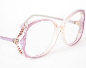 b6c9ad9679b 80s Oversized Pearlescent Lilac Eyeglasses - Vintage Elan Frames - Pearl  Light Purple and Gold - Grandma Glasses - Extra Large Eyeglasses