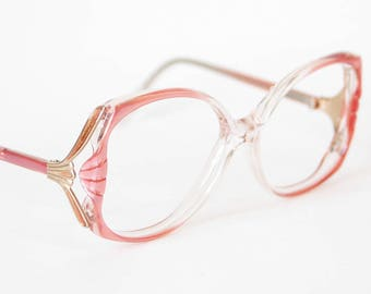 094b4f99f3 80s Oversized Pearlescent Coral Pink Eyeglasses - Vintage Elan Frames -  Pearl Pink and Gold - Grandma Glasses - Extra Large Eyeglasses