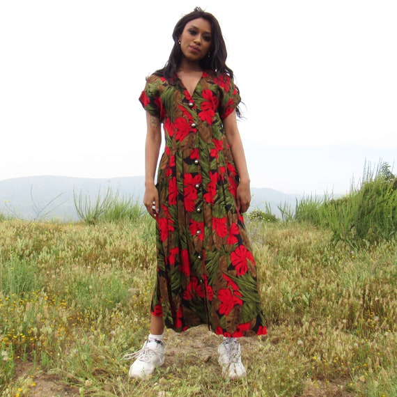 Red and Green Floral Button Up Maxi Dress - 1980s