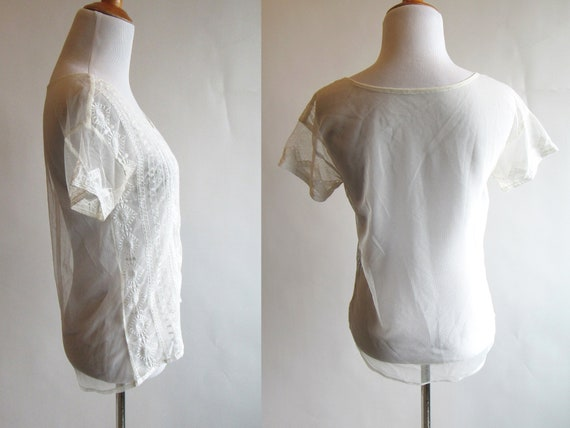 White Embroidered Mesh Short Sleeve T Shirt - Bea… - image 3