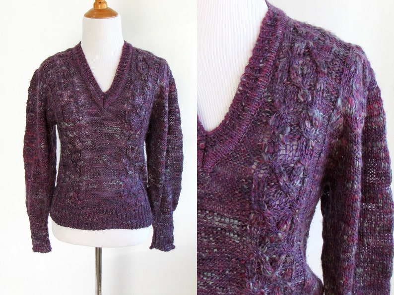 1159a451e5d Purple and Turquoise Speckled Knit Bishop Sleeve Sweater