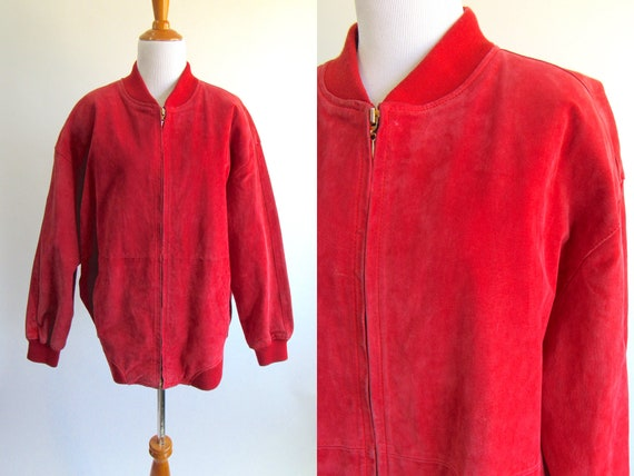 Red Suede Bomber Jacket - Bright Red 80s Zip Up Bo