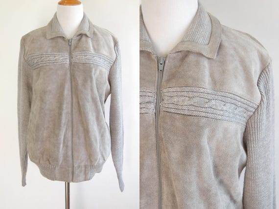 80s Grey Suede Sweater Jacket - Suede Sweater Jack