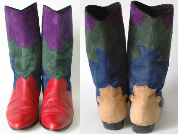 Cowboy Leder Stiefel Bis Cowgirl 5 Farbige Italienische Bunte Wildleder Vaneli 5 5 Dekorative Größe dBeWxrCo