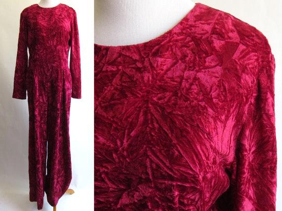 80s Ruby Red Crushed Velvet Jumpsuit - Full Length