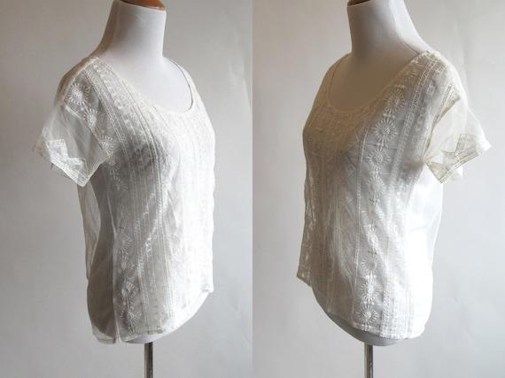 White Embroidered Mesh Short Sleeve T Shirt - Bea… - image 2