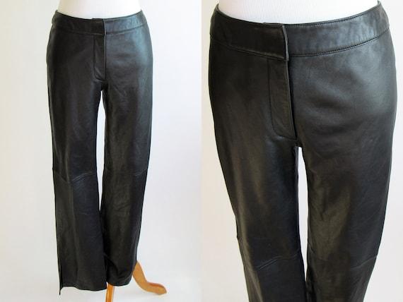 Black Leather Pants - 1990s Black Leather Pants -