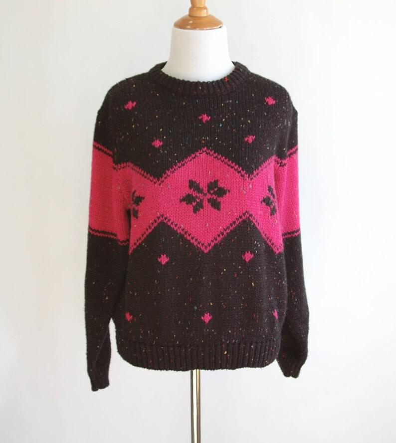 df33e0c7912953 80s hot rosa nero e Rainbow Speckle fiocco maglia maglione a