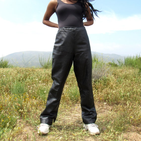 Black Leather Side Zipper Pants with No Pockets -