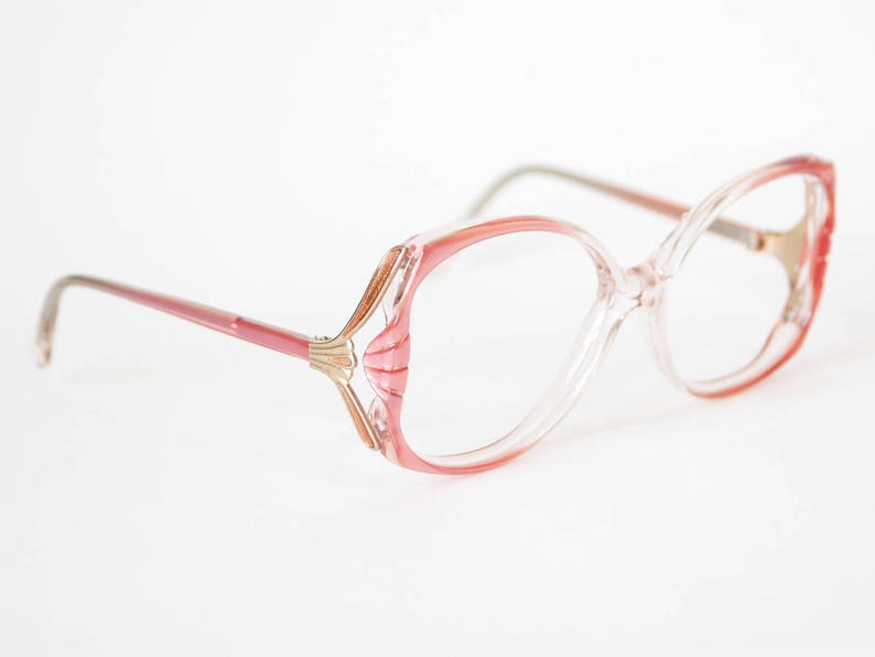 5e2a7fa87e2 80s Oversized Pearlescent Coral Pink Eyeglasses Vintage Elan