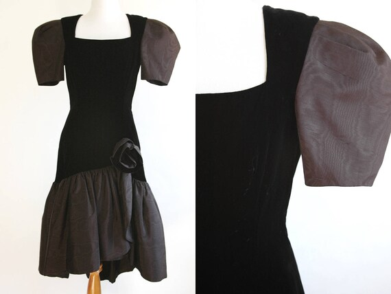 80s Prom Dress Black Velvet Poofy Prom Dress With Rose Etsy