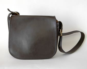 70s Dark Brown Leather Coach Bag Made in New York Shoulder Bag - ALTERED Dyed Vintage Coach Bag - 1970s Coach Bag Bonnie Cashin - Large Bag