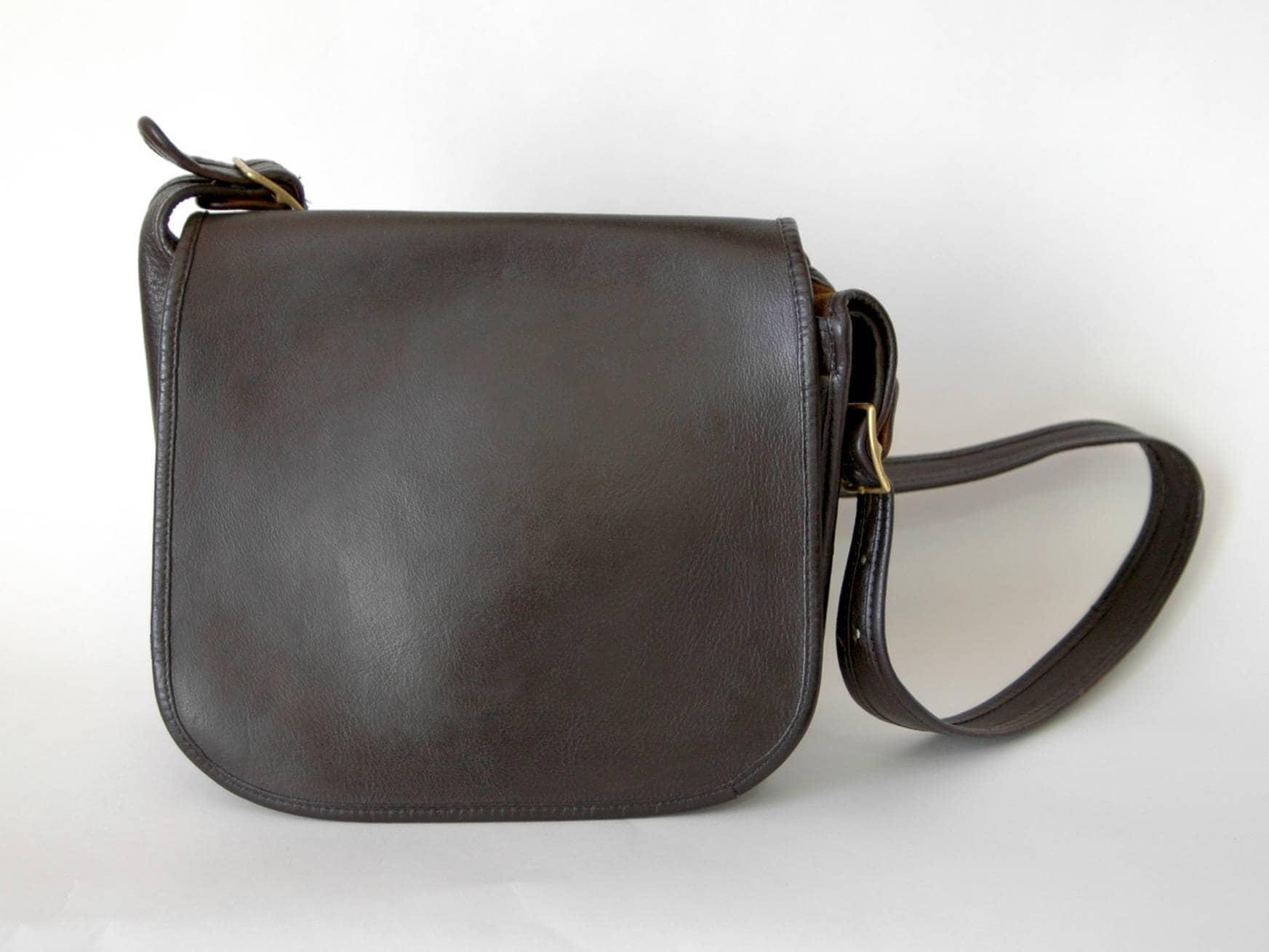 f02010b2 70s Dark Brown Leather Coach Bag Made in New York Shoulder Bag - ALTERED  Dyed Vintage Coach Bag - 1970s Coach Bag Bonnie Cashin - Large Bag