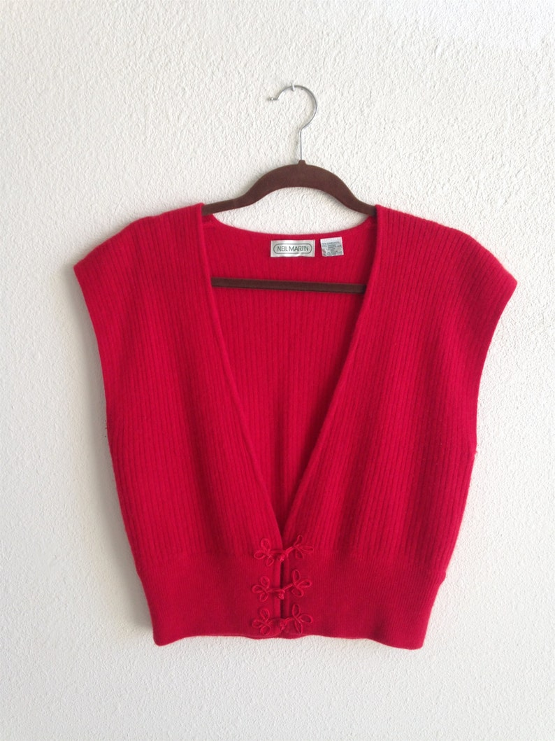 Red Lambswool Angora V Neck Sweater Vest with Rope Frog Closures Size Medium