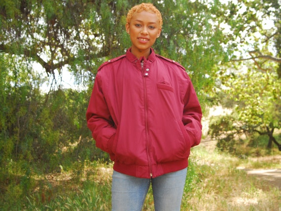 Maroon Bomber Jacket - Burgundy Red Zip Up Quilted