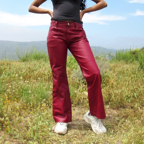 Burgundy Leather Pants - 1990s Maroon Leather Pant