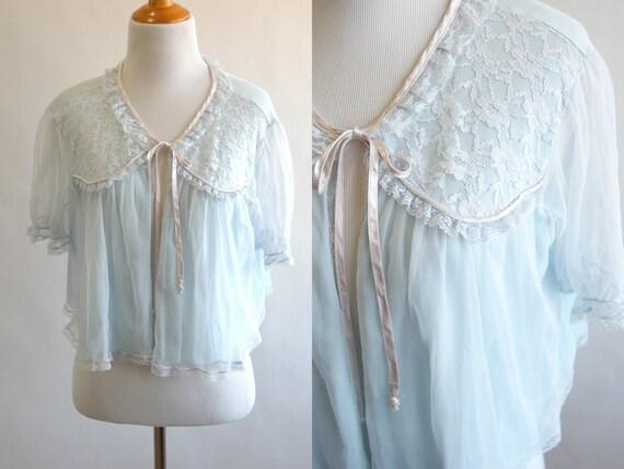 fbadc4755cc4f 60s Light Blue Chiffon and Lace Bed Jacket Short Sleeve | Etsy