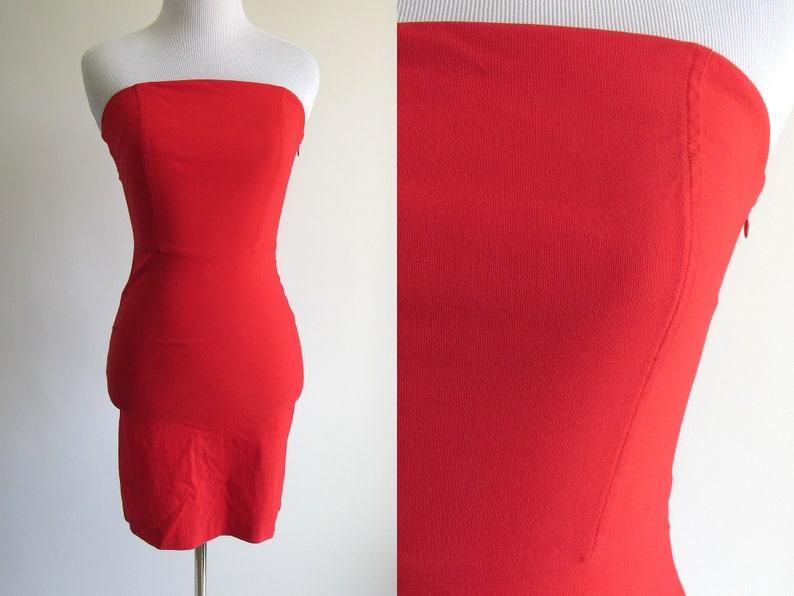 80439921c4b 90s Bright Red Stretchy Bodycon Strapless Mini Dress Sexy