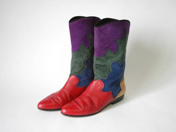 Colorful Suede Leather Cowboy Boots - Decorative B