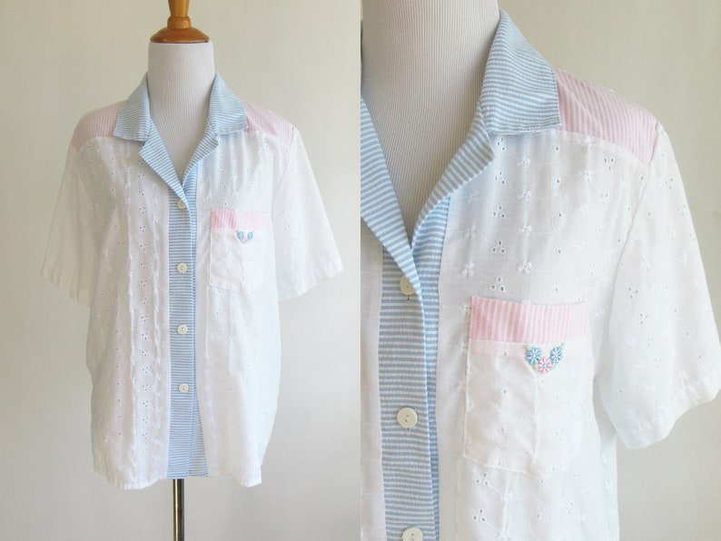S white eyelet short sleeve button up t shirt with blue and etsy