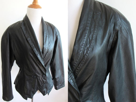 1980s Black Leather Jacket - Dramatic Shoulders Ta