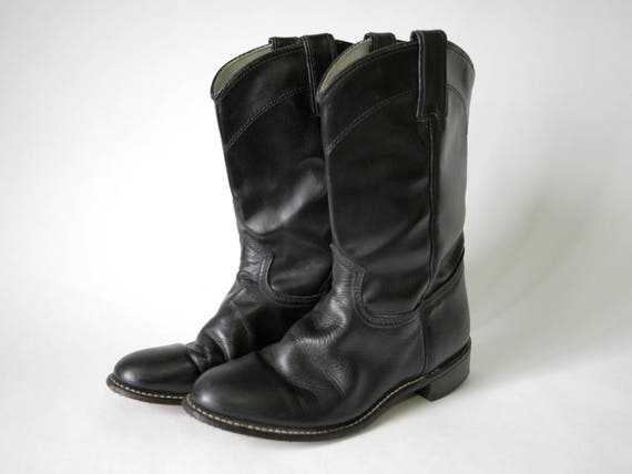 ae0fb26a551 80s/90s Black Leather Cowboy Boots - Shiny Black Boots - Black Cowgirl  Boots - Rodeo Drive - Western Style - Western Boots - Size 6.5 M