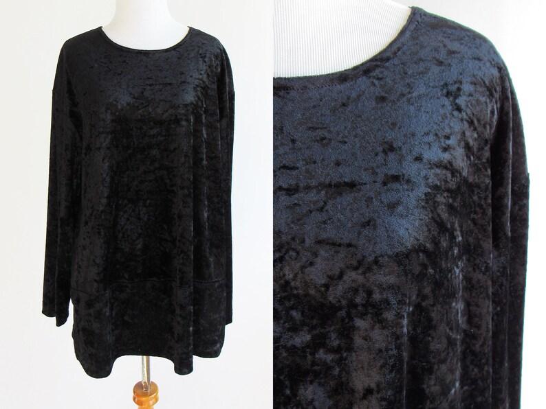 873b113817ed14 90s Black Velvet Long Sleeve Shirt Crushed Velvet Shirt