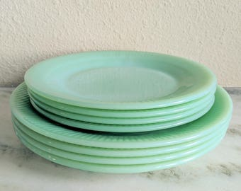Fire King Jane Ray Jadeite Dinner Lunch Salad Plates, Vintage Jadeite Dishes Plate Set, Fire King Glassware, Green Milk Glass Plate