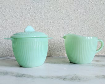 Fire King Jane Ray Jadeite Cream and Sugar Bowl, Vintage Jadeite Cream Sugar Set, Fire King Collectible Glassware, Green Milk Glass