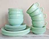 1 Fire King Jadeite Place Setting, Vintage Restaurant Ware Jadeite Dishes Full Place Set, Fire King Collectible Glassware, Green Milk Glass