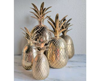 Vintage Brass Pineapple Container, Pineapple Candle Holder, Lidded Pineapple Trinket Box Ice Bucket, Gold Pineapple Decor, Hollywood Regency