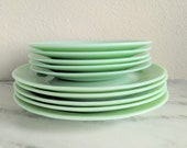 Set of 10 Jadeite Plates, 1990s Vintage Jadeite Dishes Plate Set, Cracker Barrel Collectible Glassware, Green Milk Glass Plate