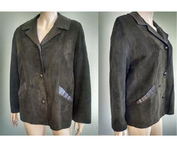 1940s Deerskin Leather Jacket, Vintage Army Green