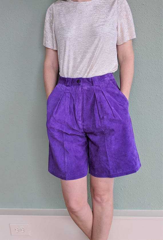 1980s Purple Suede High Waist Shorts, Womens Leath
