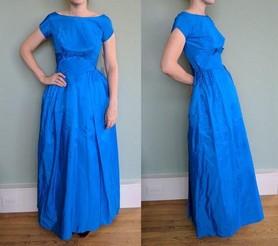 Nos 1950s Blue Cinderella Formal Gown Vintage Long Evening Etsy