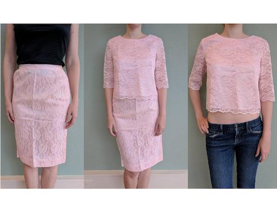 1950s Pink Lace Skirt Crop Top Suit, Vintage Lace