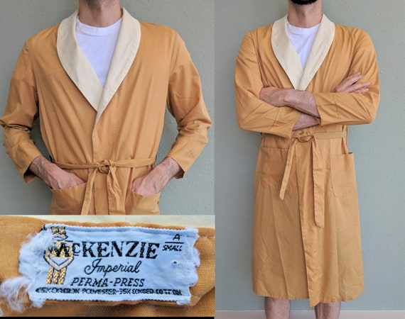 1950s Mens Yellow House Robe, Vintage Belted Robe