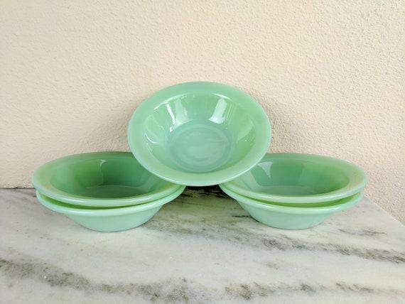Cereal Bowl Antique Kitchen Ware Set of 2 Anchor Hocking Fire King Jadeite Bowl Vintage