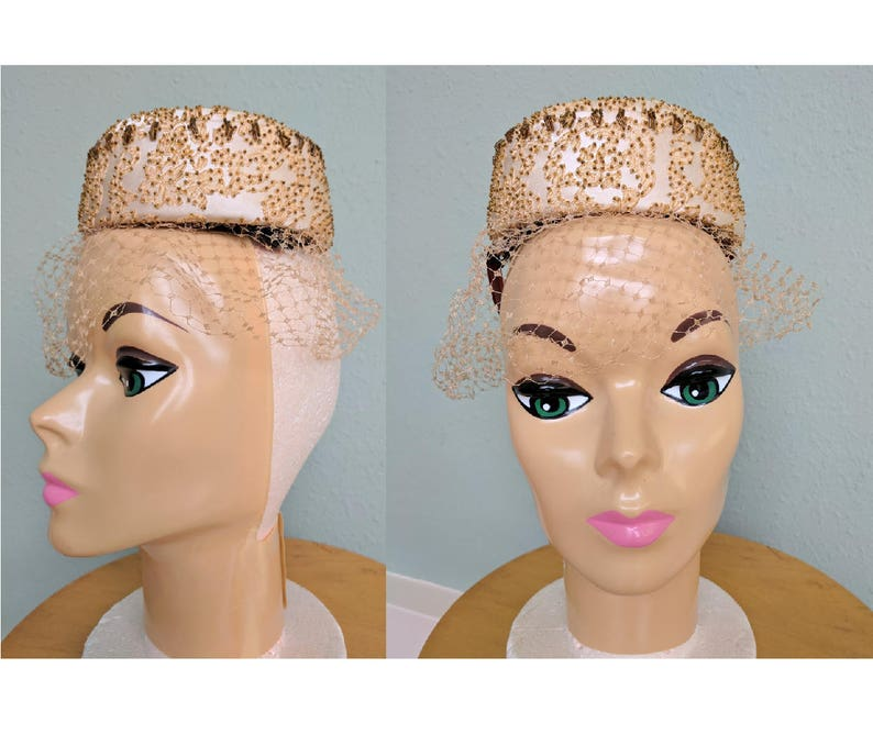 4bf326e4dcc4a Vintage 1950s Couture Beaded Pillbox Hat Bridal Beaded Veil   Etsy