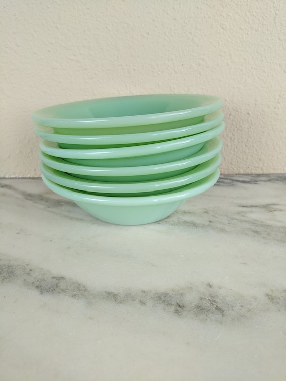 Vintage Jadeite Restaurant Ware Soup Bowl Set Dishes Fire King Collectible Green Milk Glass Bowls 4 Fire King Jadeite Flanged Cereal Bowls