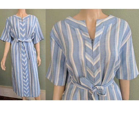 Boho Chic 1970s Kaftan Dress, Plus Size Vintage Festival Beach Dress, Blue  Striped Chevron Dress, Loose Belted Ethnic Dress XL XXL Plus Size