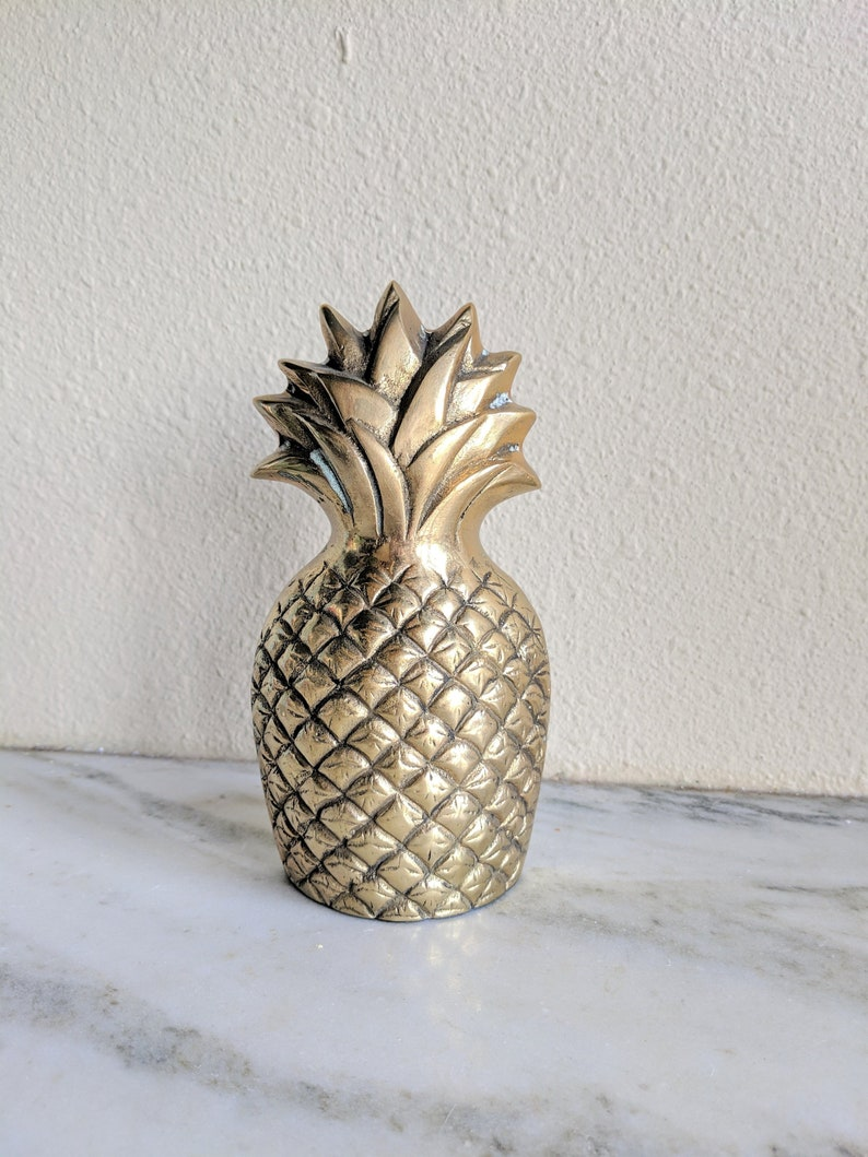 Etonnant Large Brass Pineapple Doorstop, Vintage Heavy Brass Bookend Doorstopper,  Hollywood Regency Tropical Jungalow Tiki Brass Home Decor
