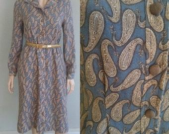 1960s Wool Paisley Dress, Vintage Wool Paisley Dress w/ Pockets, Vintage Long Sleeve Dress, Button Up Dress, Warm Winter Dress, Small Medium