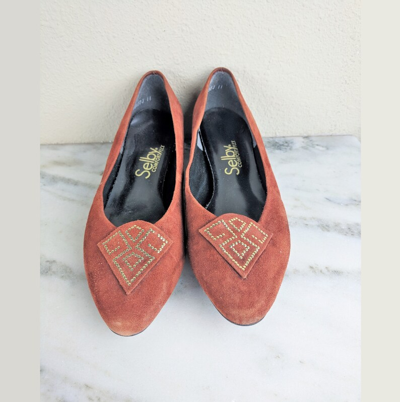0d09994d3a30f 1970s Orange Suede Shoes, Sienna Burnt Orange Leather Shoes with Gold  Geometric, Womens Vintage Low Heel Flat Slip Ons, Size 8, Selby