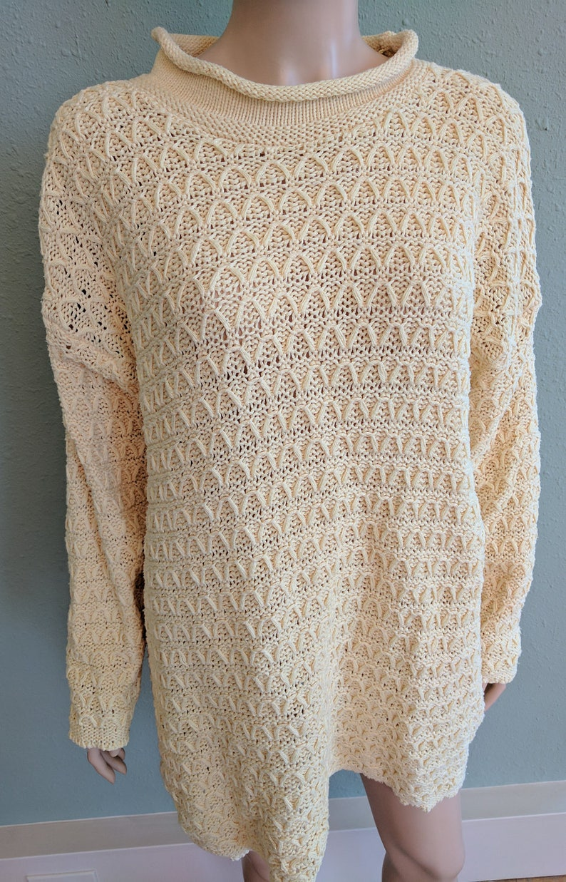 Warm Sweater Tunic Dress Boho Hobo Dress Vintage 1970s Cream Sweater Dress Women/'s Knitted Dress Oversized Slouchy Sweater Dress